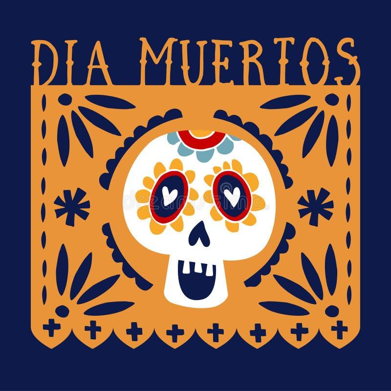 Dia de Los Muertos-groetkaart, uitnodiging Mexicaanse Dag van de Doden De met de hand gemaakte document vlag van de besnoeiingspa stock illustratie