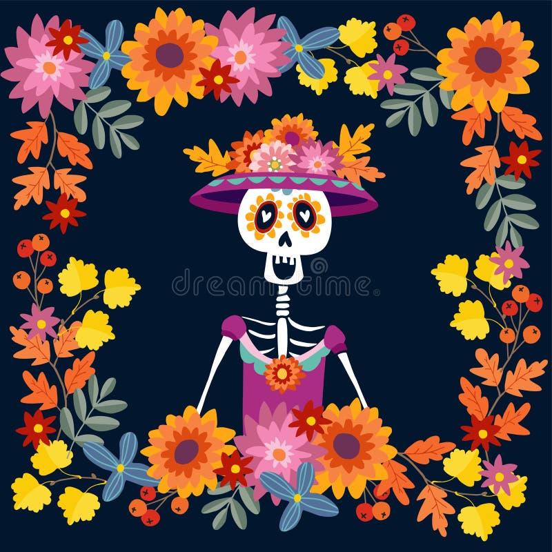 Dia de Los Muertos hälsningkort, inbjudan vektor illustrationer