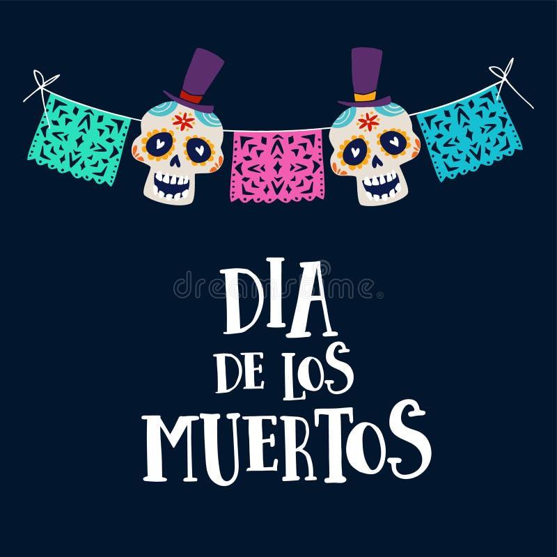 Dia de Los Muertos hälsningkort, inbjudan Mexicansk dag av dödaen Radgarnering med partiflaggor och ornametal stock illustrationer