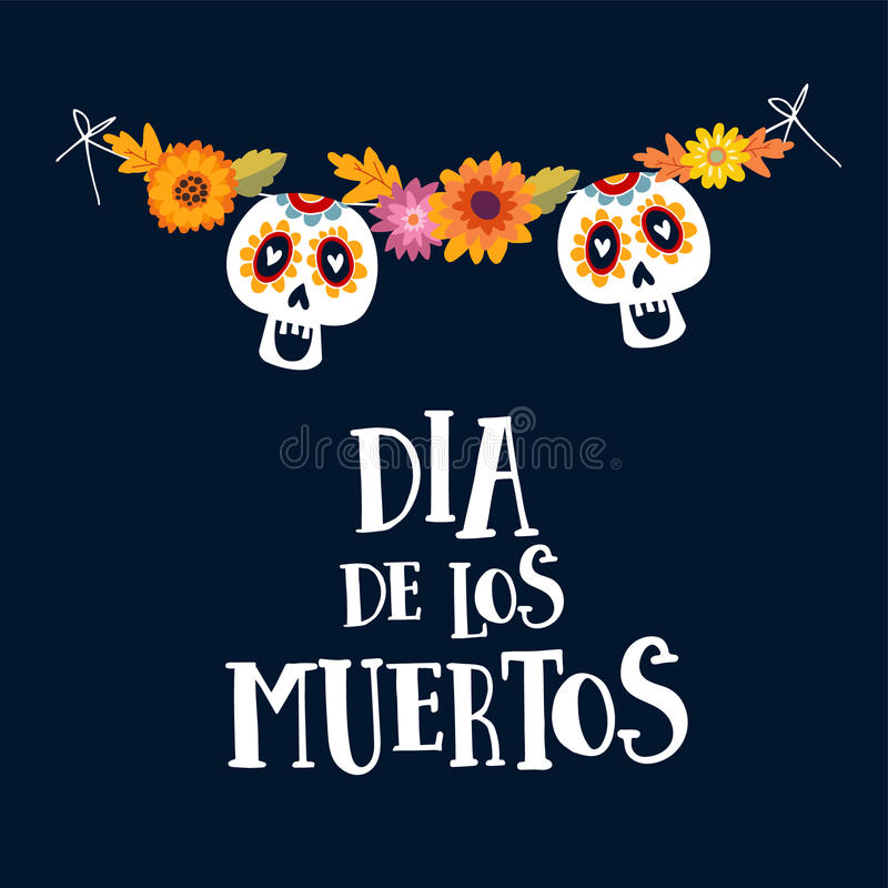 Dia de los Muertos or Halloween greeting card, invitation. Mexican Day of the Dead. String decoration with mums flowers vector illustration