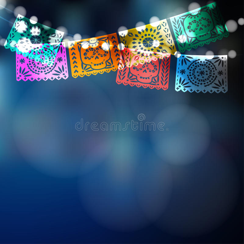 Dia de Los Muertos, jour mexicain de la carte morte, invitation Faites la fête la décoration, ficelle des lumières, drapeaux de p illustration stock