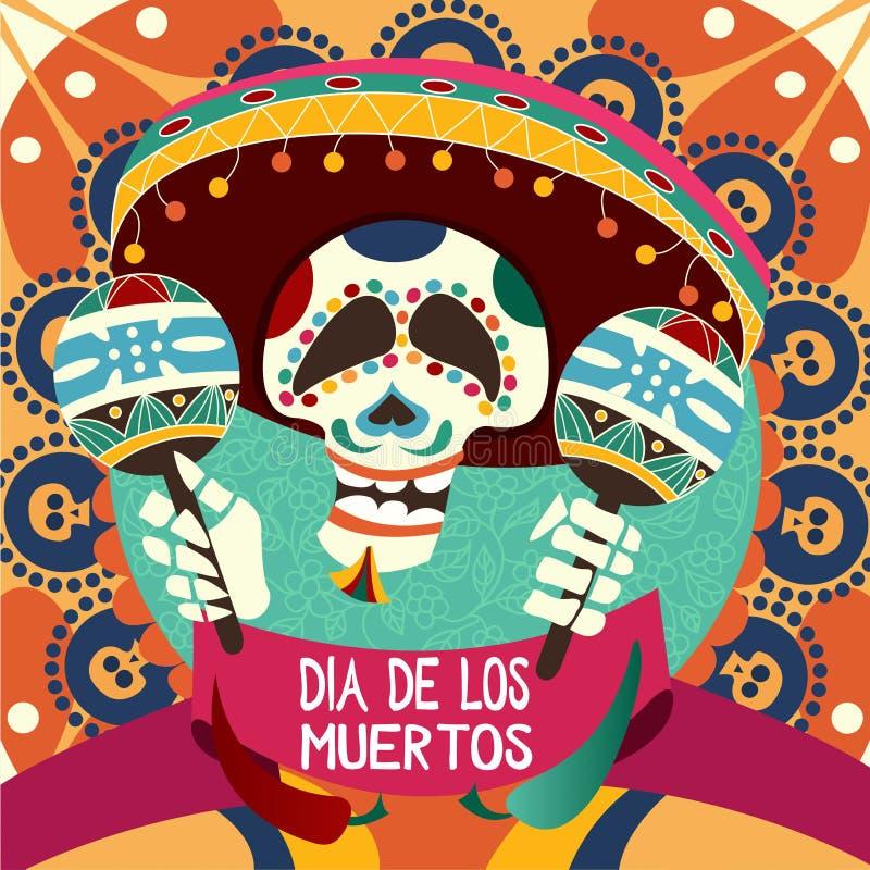Dia De Los Muertos karta dla Dau nieboszczyk Powitanie wektoru bolączka ilustracja wektor