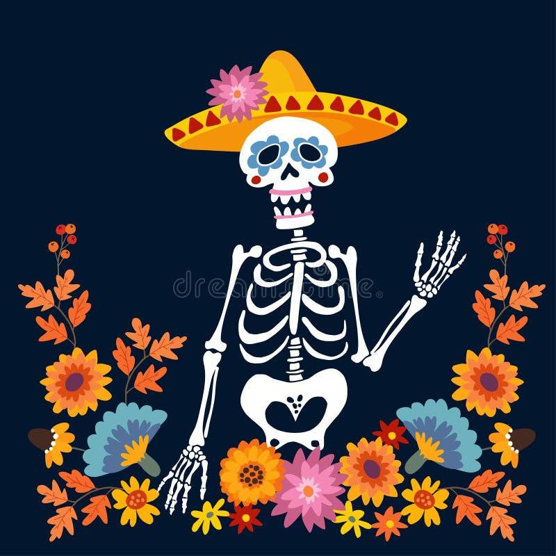 Dia De Los Muertos kartka z pozdrowieniami, zaproszenie Meksykański dzień nieboszczyk Kościec z sombrero kapeluszem i kwiecistą r ilustracja wektor