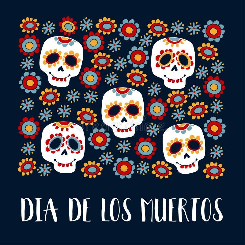 Dia De Los Muertos kartka z pozdrowieniami, zaproszenie Meksykański dzień nieboszczyk Ornamentacyjne cukrowe czaszki, kwiaty ręka ilustracja wektor