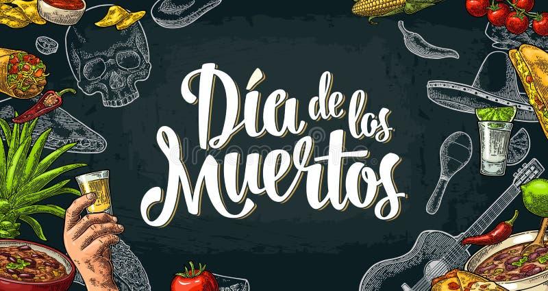 Dia De Los Muertos literowanie i meksykański tradycyjny jedzenie ilustracji