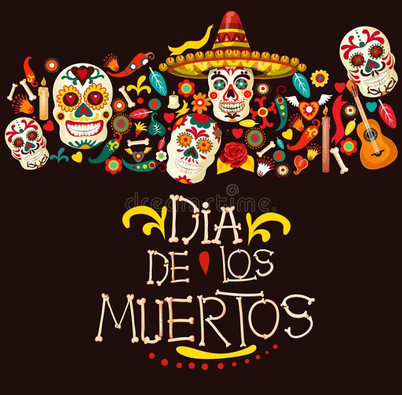 Dia De Los Muertos Meksykanin wakacje kartka z pozdrowieniami royalty ilustracja
