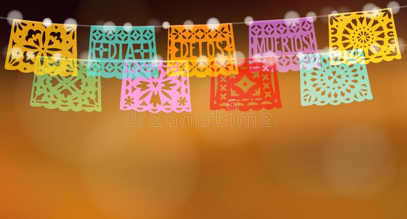 Dia de los Muertos, Mexican Day of the Dead holiday web banner. Halloween card, invitation. String of lights and garland. Of colorful paper cut party bunting stock illustration