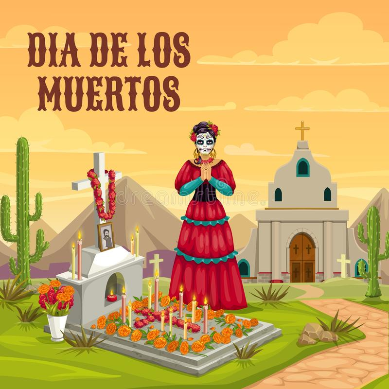 Dia de los Muertos Mexican dead holiday tradition. Dia de los Muertos Mexican traditional holiday. Woman with calavera skull face in Mexican dress, pray hands at royalty free illustration