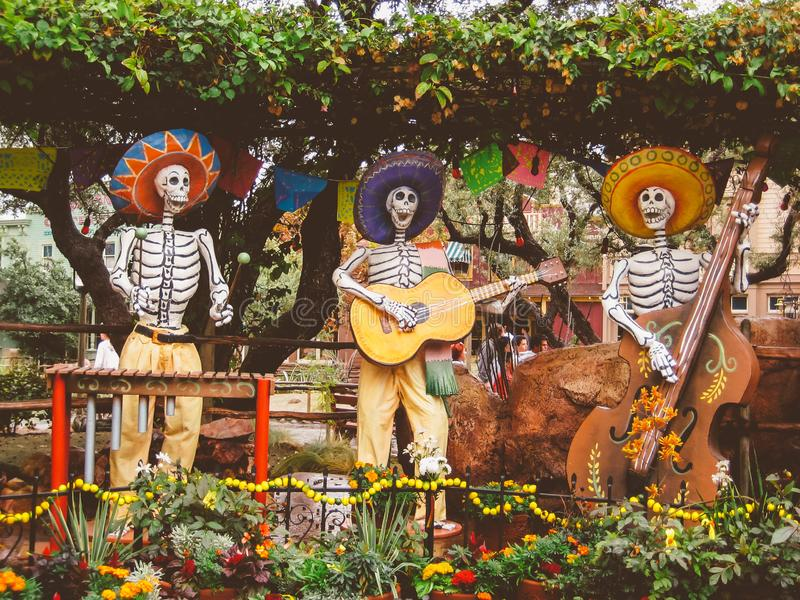 Dia De Los Muertos Musician Statues. Fall and Halloween are also times for Dia De Los Muertos or Day of The Day figurines and statues come out and celebrate stock images