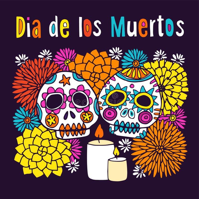 Dia de los Muertos o tarjeta de felicitación de Halloween, invitación, con los sculls ornamentales dibujados mano ilustración del vector