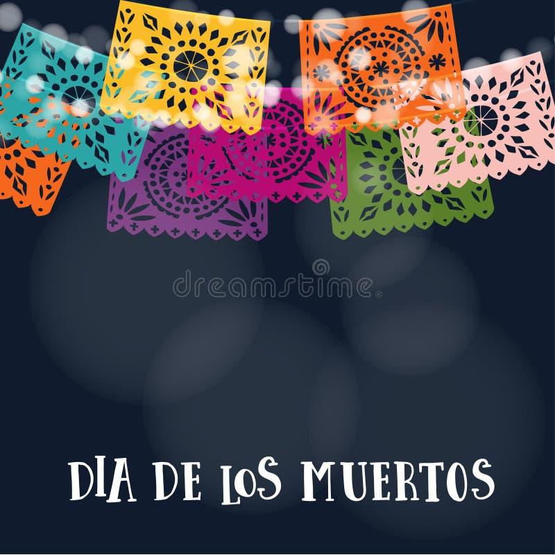 Dia de los Muertos o tarjeta de Halloween, invitación Día mexicano de los muertos Guirnalda de luces, corte hecho a mano colorido ilustración del vector