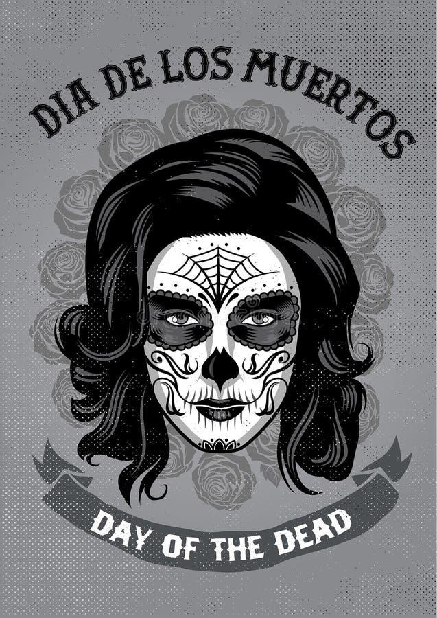 Dia De Los Muertos plakat w ośniedziałej teksturze ilustracja wektor