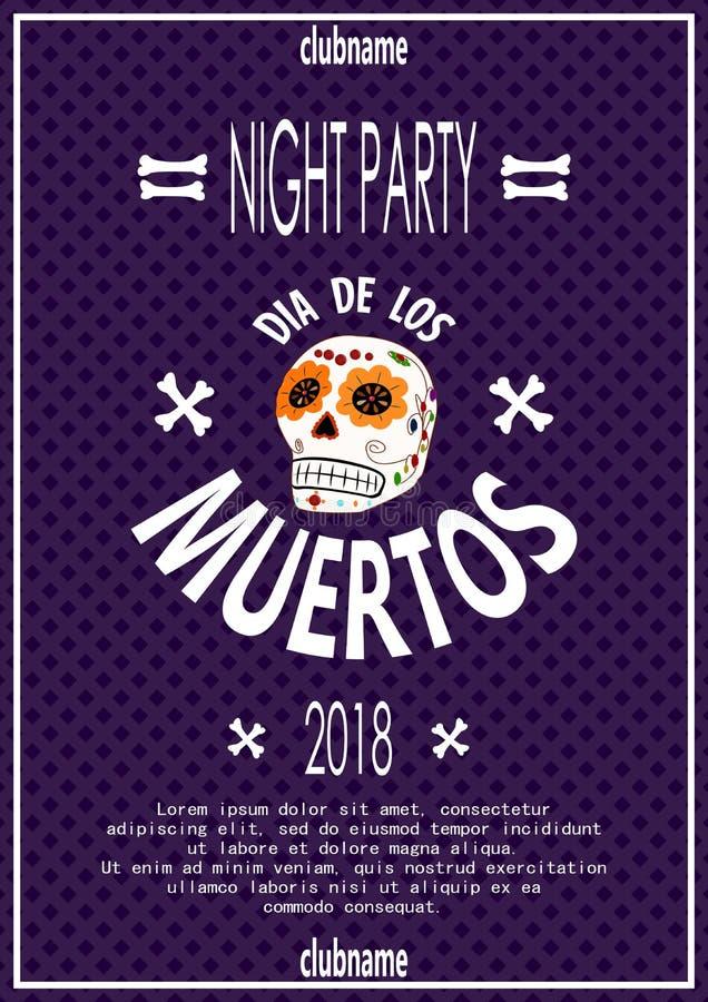Dia De Los Muertos Tag der toten Einladung mit dem Schädel lizenzfreie abbildung