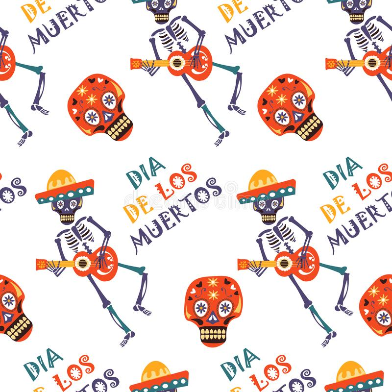 Dia de los Muertos vector greeting card for Mexican traditional holiday seamless pattern. stock illustration
