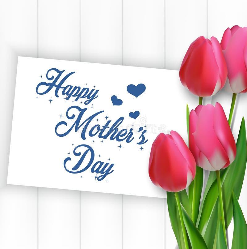 Dia de mães feliz com tulipas e papel das flores no fundo de madeira ilustração do vetor