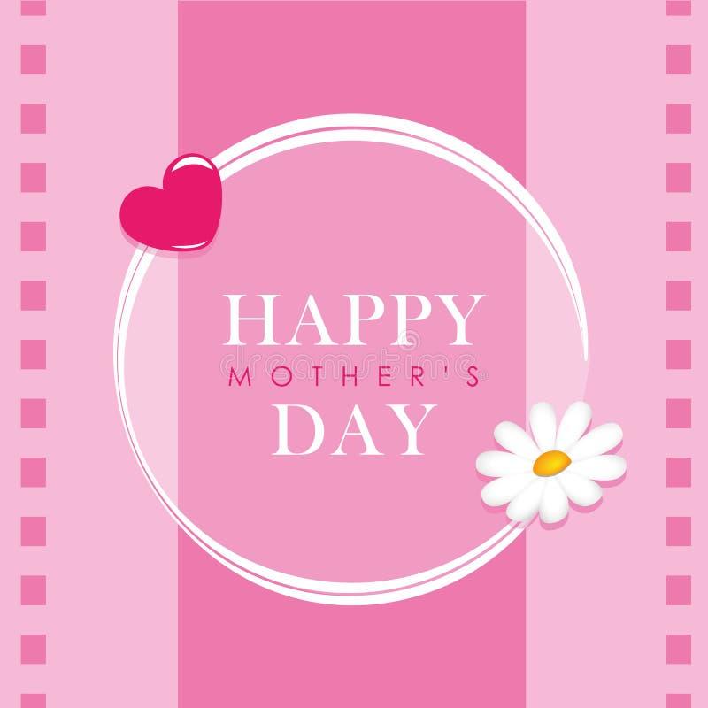 Dia de mães feliz que rotula o cartão com flor e coração ilustração royalty free