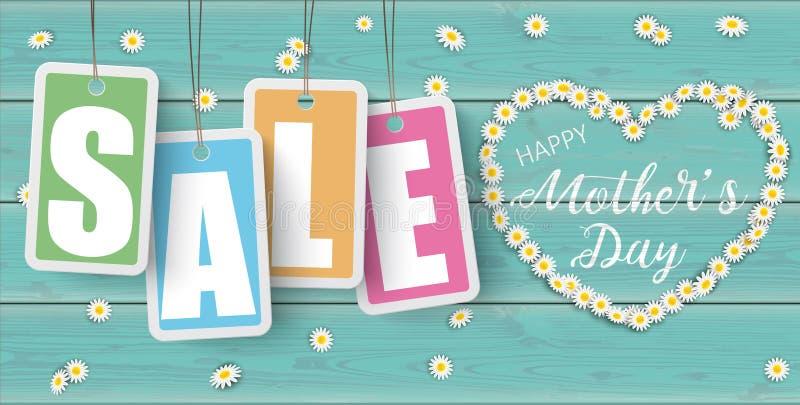 Dia de mães de madeira Heade de Daisy Price Stickers Sale Heart de turquesa ilustração royalty free
