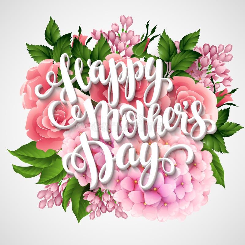 Dia de matrizes feliz Cartão com flores bonitas ilustração royalty free