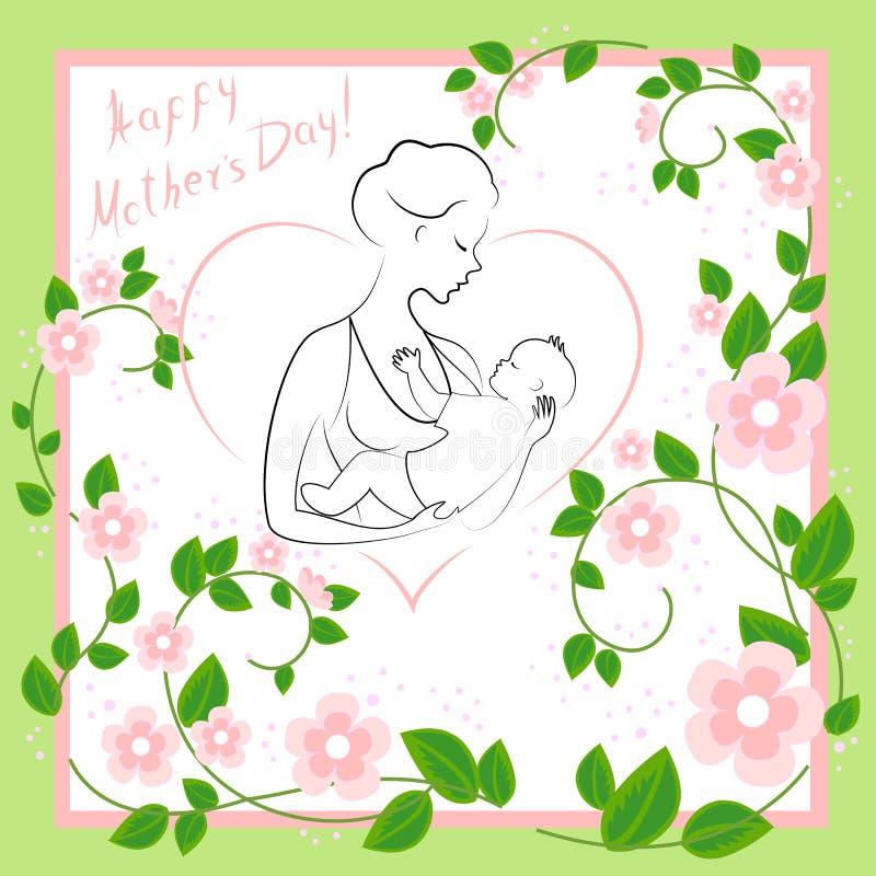 Dia de matrizes Uma menina com um beb? em seus bra?os Mulher nova e bonita Maternidade feliz Quadro sob a forma do coração e das  ilustração royalty free