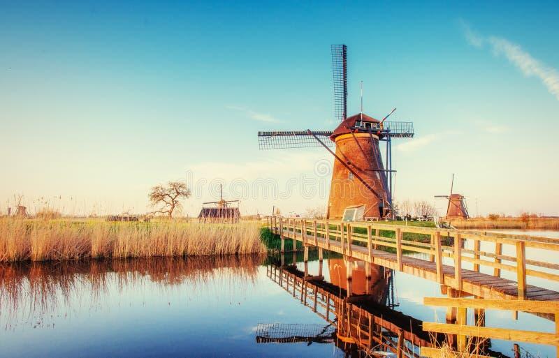 Dia de mola colorido com o canal holandês tradicional dos moinhos de vento no Ro fotos de stock royalty free