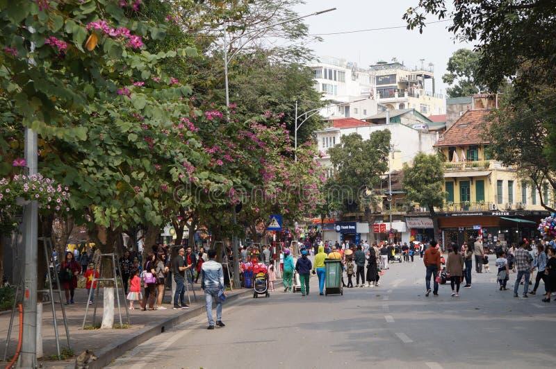 Dia de mola na rua da caminhada imagens de stock