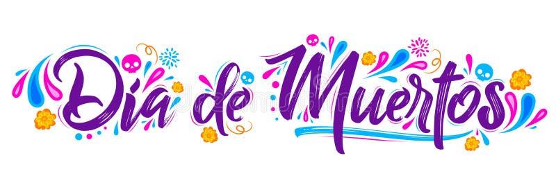 Dia de Muertos,死的西班牙文本字法的天 向量例证