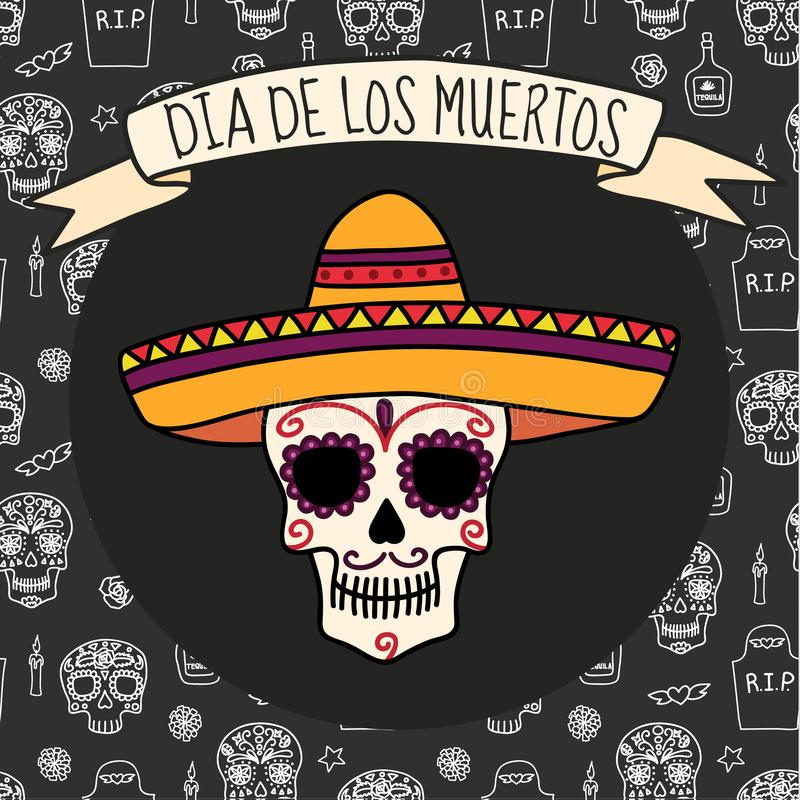 Dia de muertos background, great design for any purposes. Vector eps10. Beautiful dia de los muertos mexican traditional background, great design for any royalty free illustration