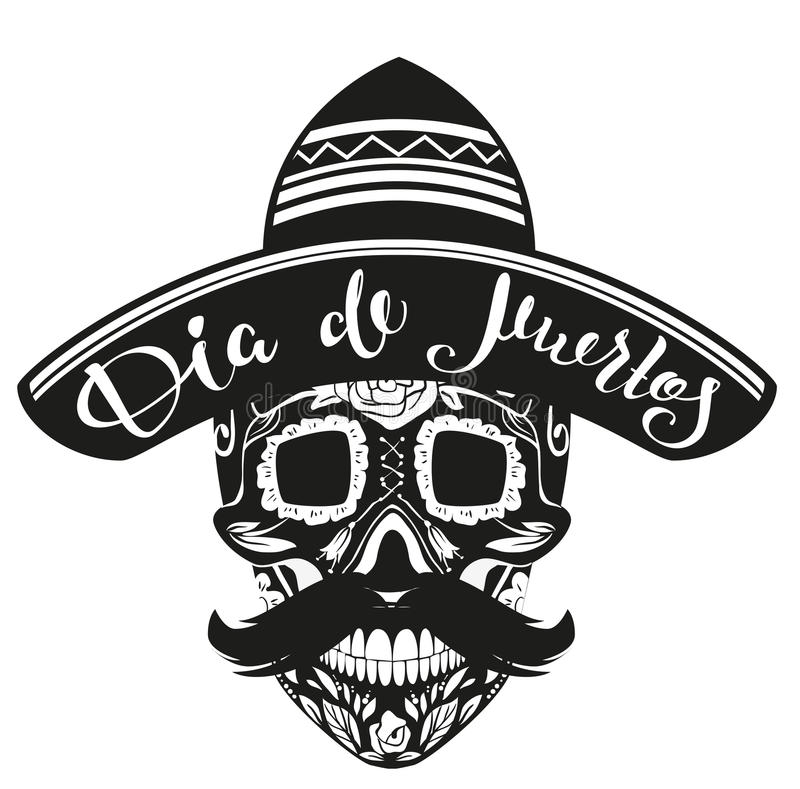 Dia de Muertos Day of Dead. Black Skull in Mexican Hat. Isolated on white vector illustration vector illustration
