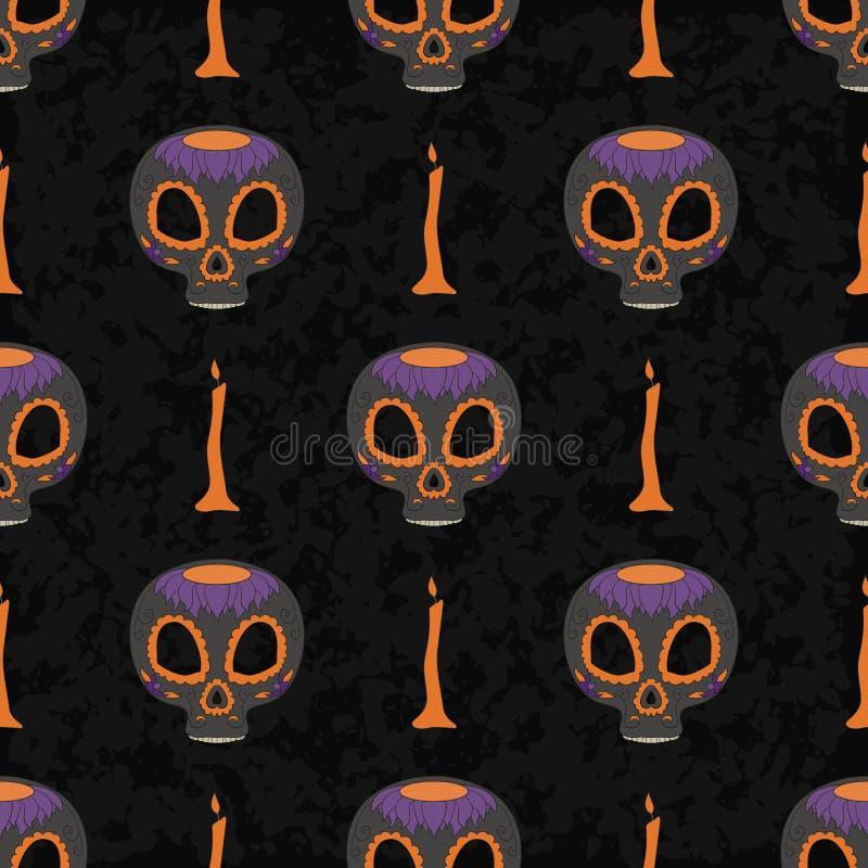 Dia De Muertos kreskówki czaszki Ozdobny dzień Nieżywy bezszwowy wzór royalty ilustracja