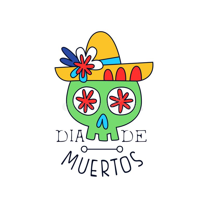 Dia De Muertos logo, traditional Mexican Day of the Dead design element with sugar school in a hat, holiday party. Decoration banner, greeting card hand drawn royalty free illustration
