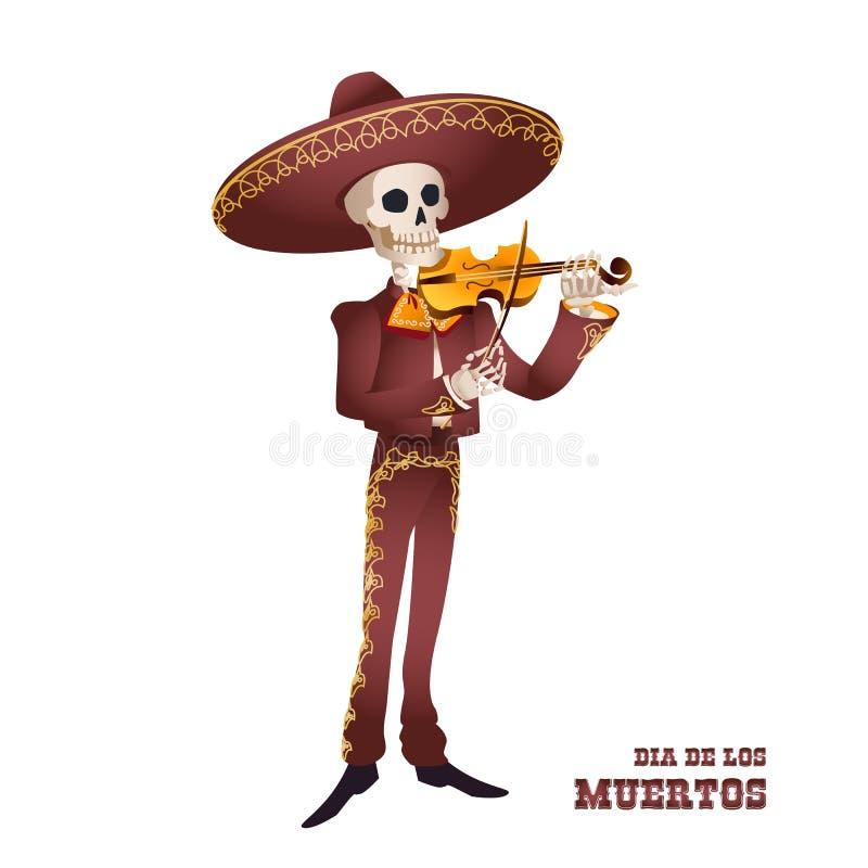 Dia de Muertos Mariachimusikerskelett Mexikanische Tradition stock abbildung