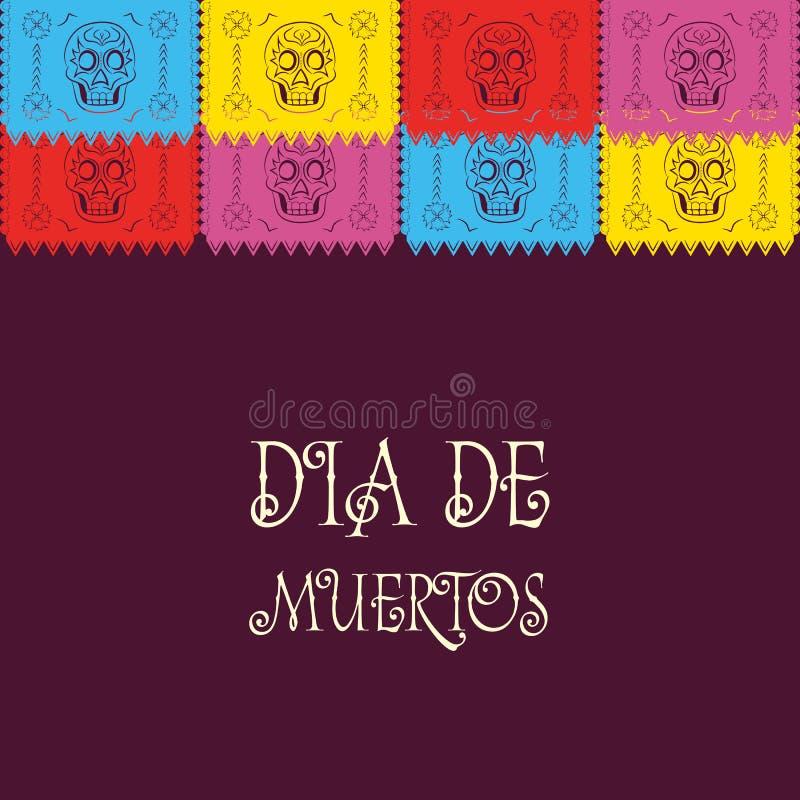 Dia de Muertos - Mexicaanse Dag van de doods Spaanse tekst decoratie stock illustratie