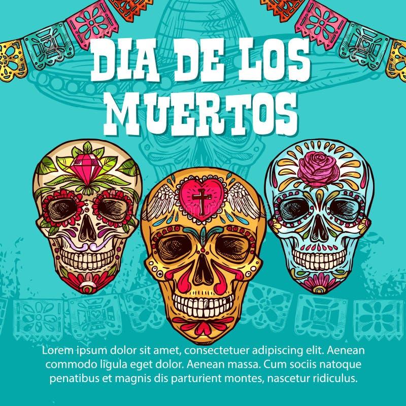 Dia de Muertos Mexican calavera skull ornament. Dia de los Muertos Mexican traditional holiday sketch calavera skulls with floral pattern ornament. Vector Dia de vector illustration