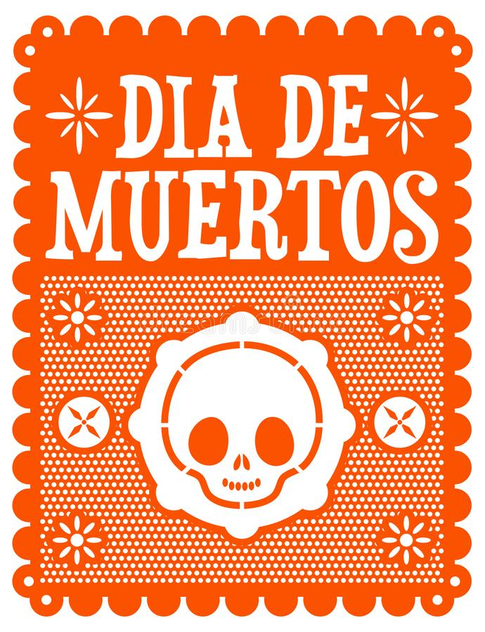 Dia de muertos, Mexican Day of the death spanish text, cute skull vector illustration. Eps available stock illustration
