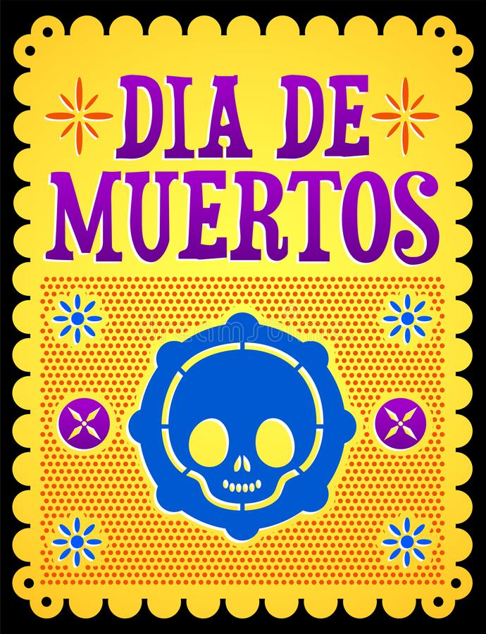 Dia de muertos, Mexican Day of the death spanish text. Cute skull vector illustration - eps available stock illustration