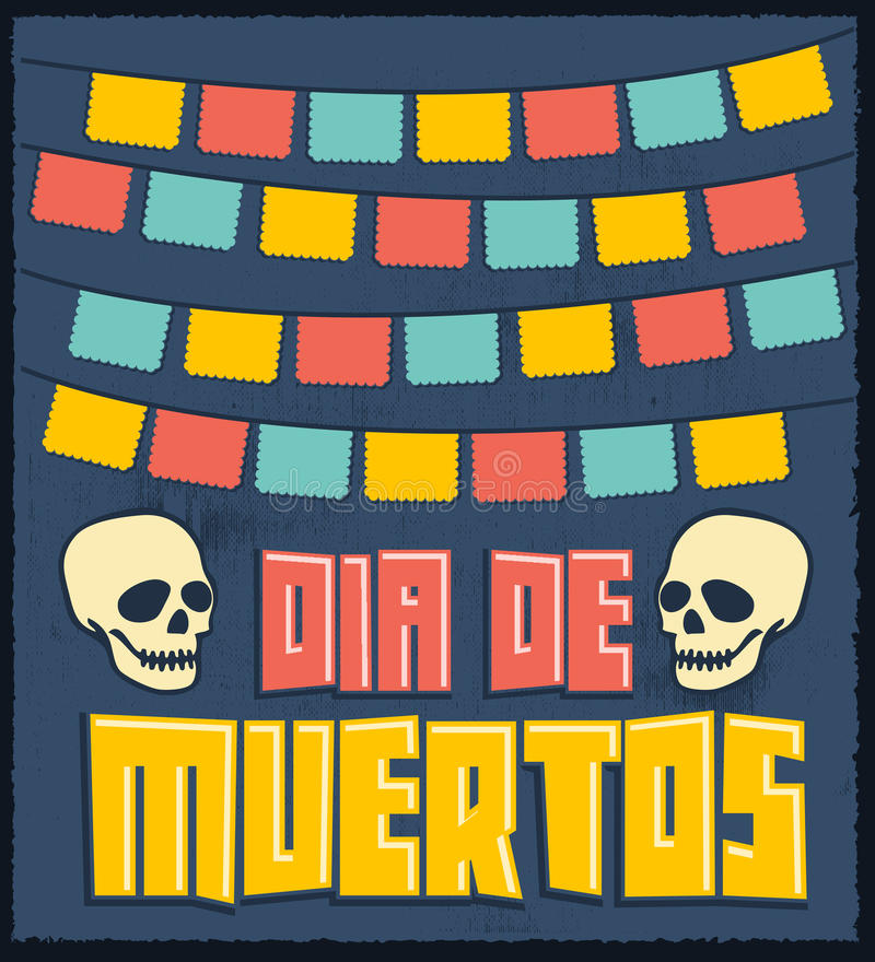Dia de Muertos - Mexican Day of the death spanish text vector decoration. Mexican card design - eps available stock illustration