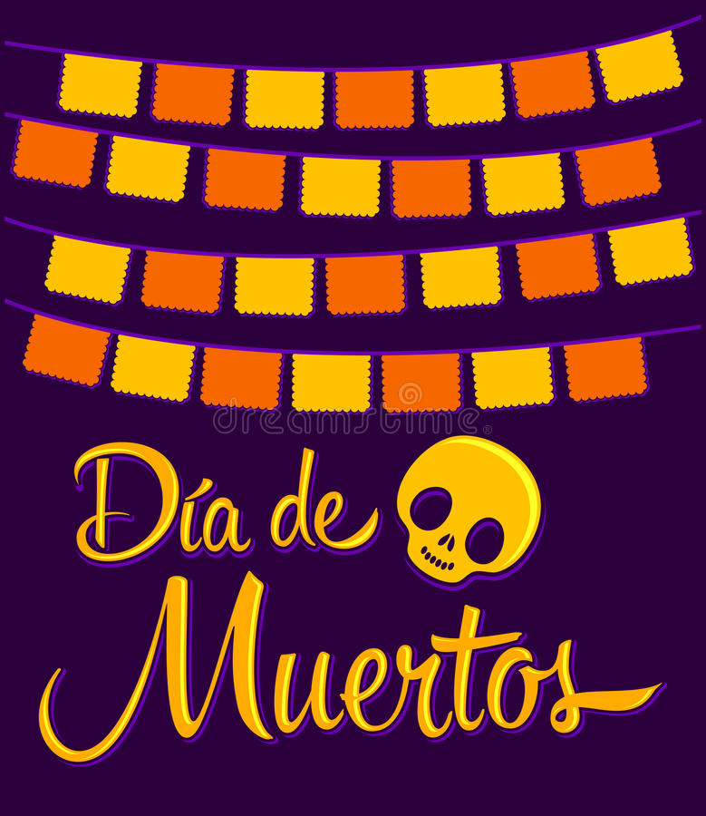 Dia de Muertos - Mexican Day of the death. Spanish text vector decoration - lettering royalty free illustration