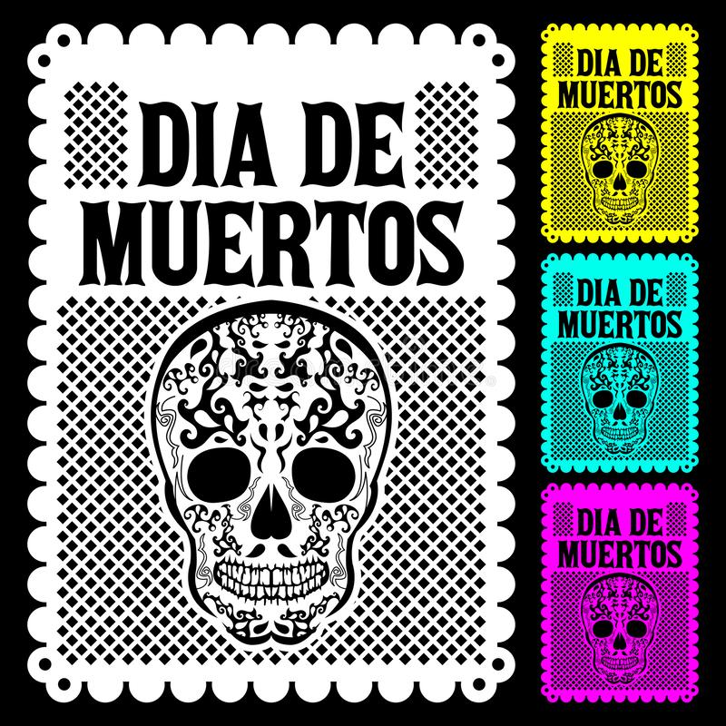 Dia de Muertos Mexican Day of the death spanish text vector poster decoration. Eps available stock illustration