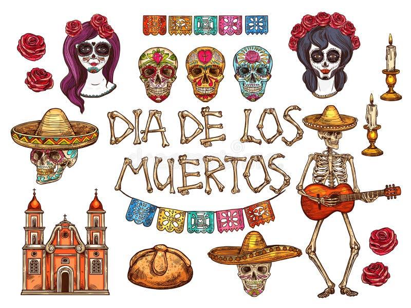 Dia de Muertos Mexican Day dei simboli morti di schizzo illustrazione di stock