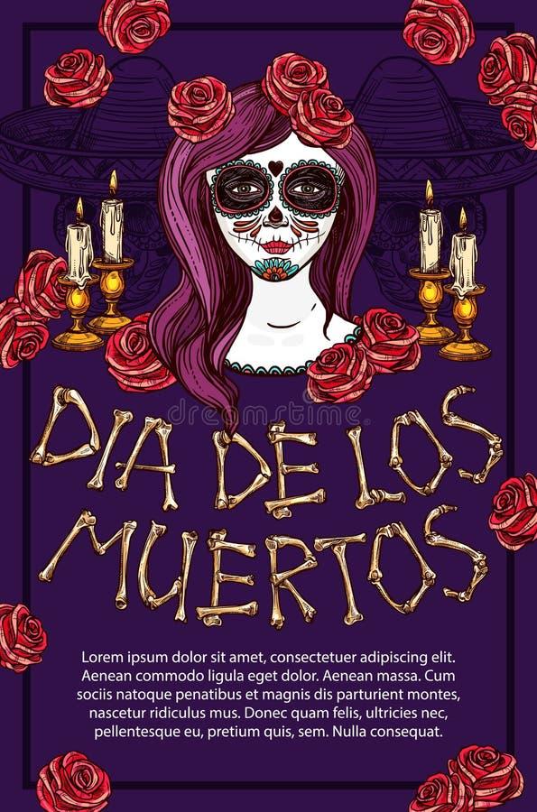 Dia de Muertos Mexican holiday calavera skull face. Dia de los Muertos Mexican traditional holiday sketch poster. Vector Dia de Muertos skeleton bones lettering stock illustration