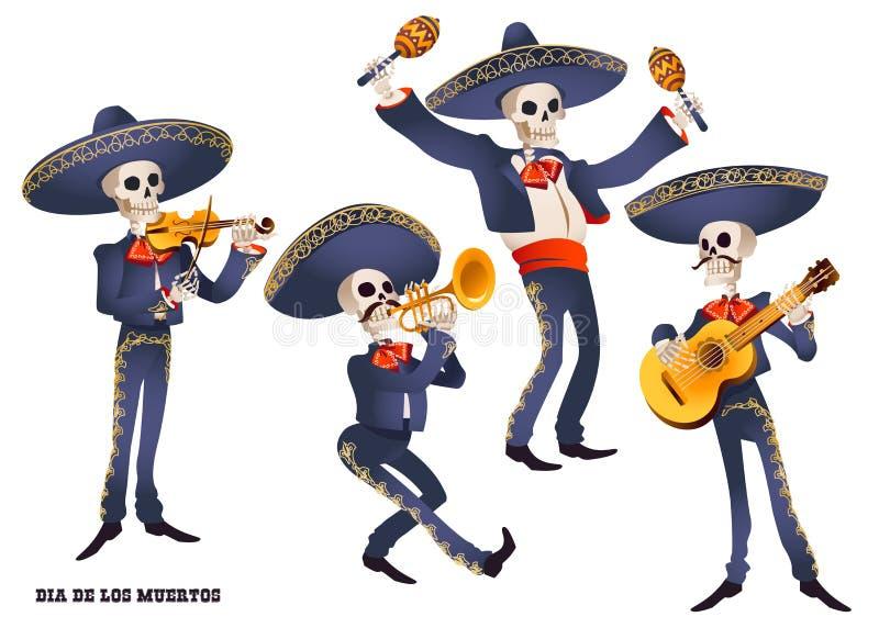 Dia de Muertos Musicista di banda dei mariachi degli scheletri Tradizione messicana illustrazione vettoriale