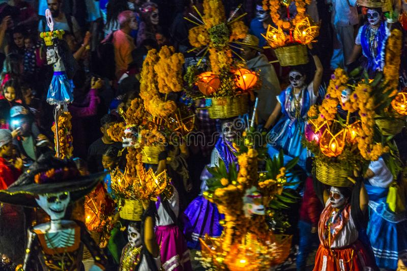 Dia de Muertos Parade. Celebrants participate in a Day of the Dead procession in Oaxaca, Mexico royalty free stock images