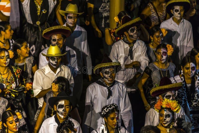 Dia de Muertos Parade. Celebrants participate in a Day of the Dead procession in Oaxaca, Mexico royalty free stock photos
