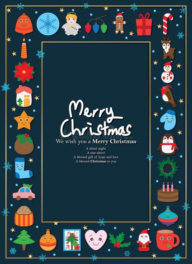 Dia de Natal em torno do quadro ilustração royalty free