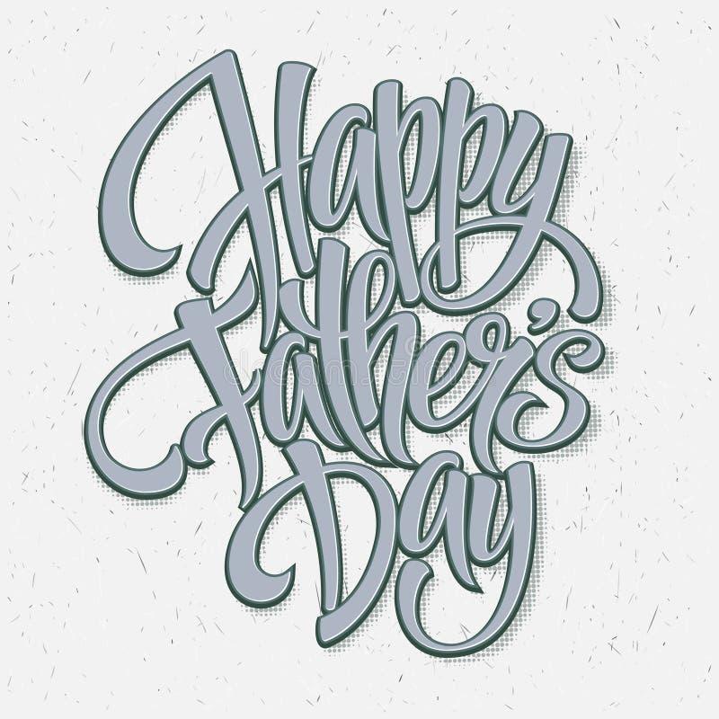 Dia de pais feliz Cartão de rotulação da mão Vetor ilustração stock