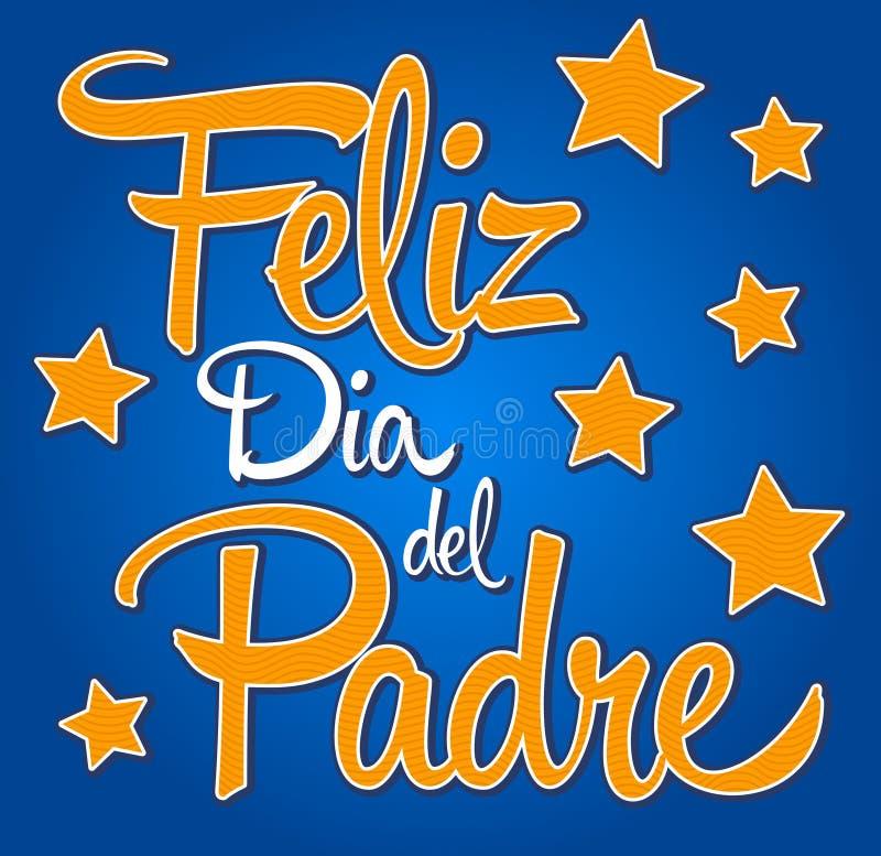 Dia de pais feliz de Feliz diâmetro de capelão-espanhol-texto ilustração do vetor
