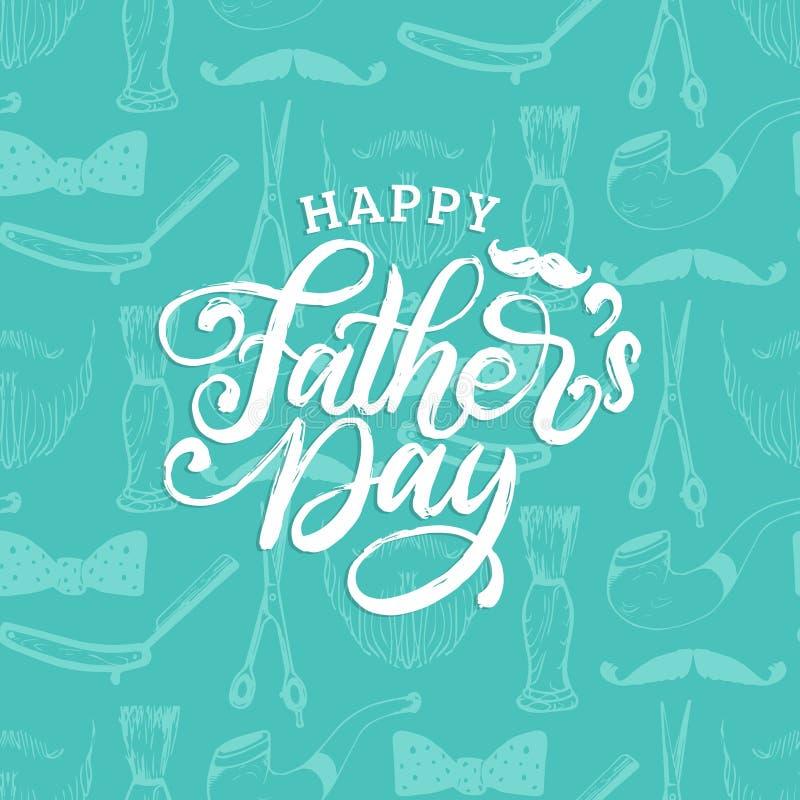 Dia de pais feliz, rotulação da mão no fundo sem emenda do teste padrão Caligrafia do vetor para o cartão, o cartaz etc. ilustração do vetor