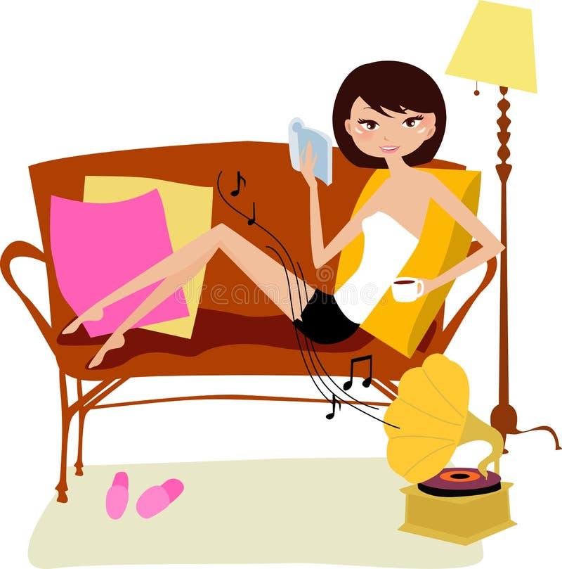 Dia de relaxamento em casa ilustração royalty free