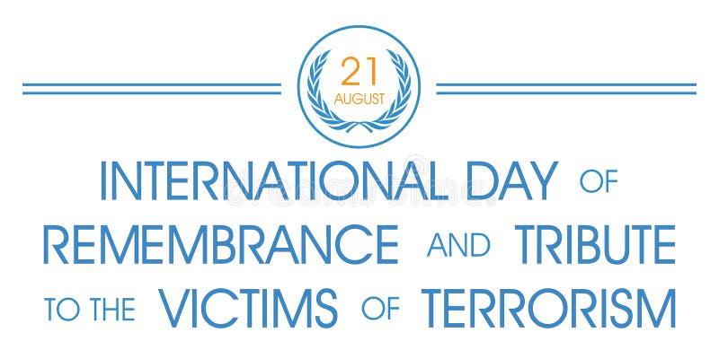 Dia de relembrança internacional e de tributo às vítimas do terrorismo ilustração royalty free