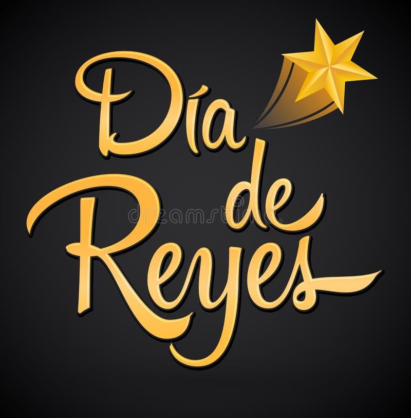 Dia de Reyes dag av spansk text för konungar, latinsk latinamerikansk tradition vektor illustrationer